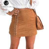 Lily Rosie Girl Khaki Lace Up Bow Suede Leather Skirts Short Mini Sexy Skirts Autumn Winter