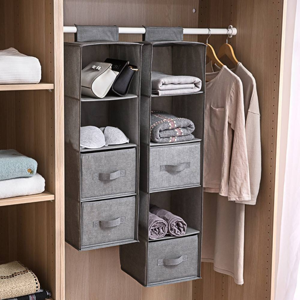 4/5 Section Shelves Hanging Wardrobe Shoe Garment Organizer Storage Clothes  Tidy