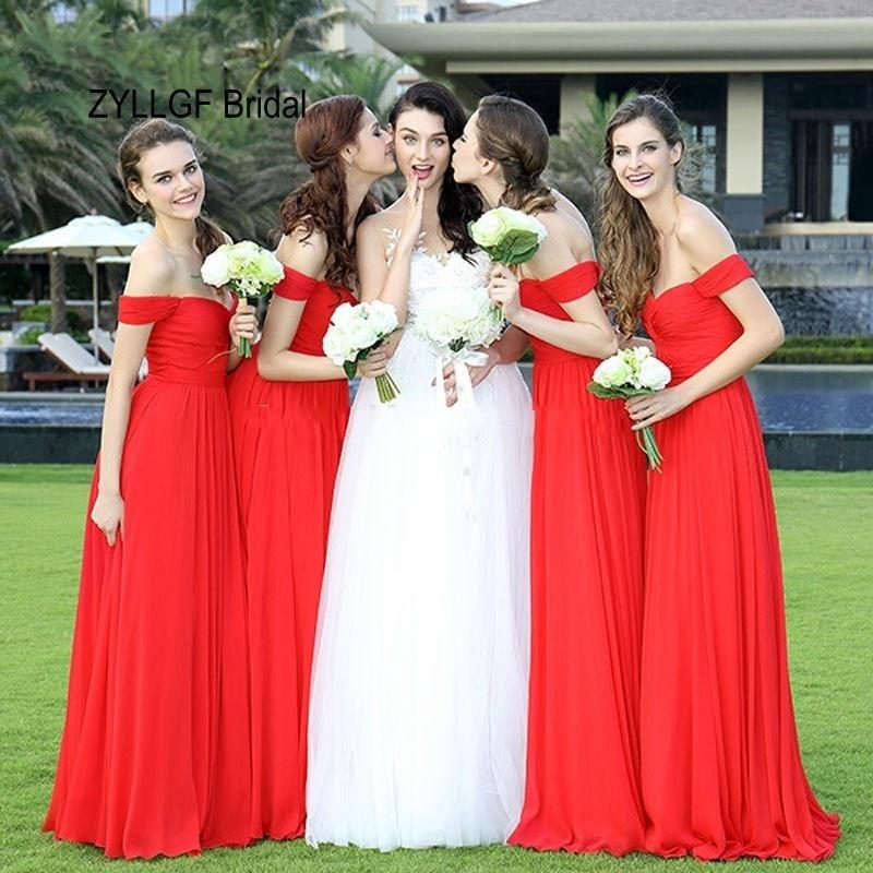 ZYLLGF Novia La Vaina Novia Rojo de dama de Honor Vestidos