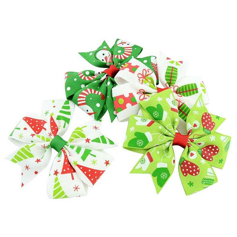 16f9e8ab25f26 ... 1PCS Christmas Hair Bow Clips Hair Swallowtail Bows Baby Girl Kids Hair  Clips Boutique Bow Clips ...