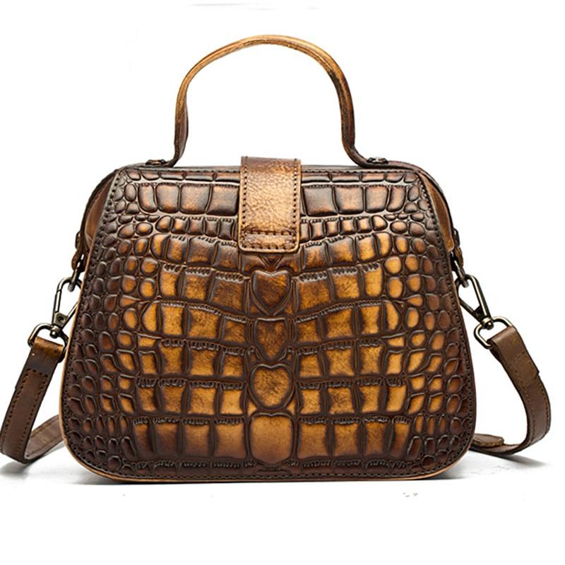 New Women Messenger Shoulder Bags Cross Body Crocodile Pattern Handbag Genuine Leather Small Tote Purse Vintage Top Handle Bag