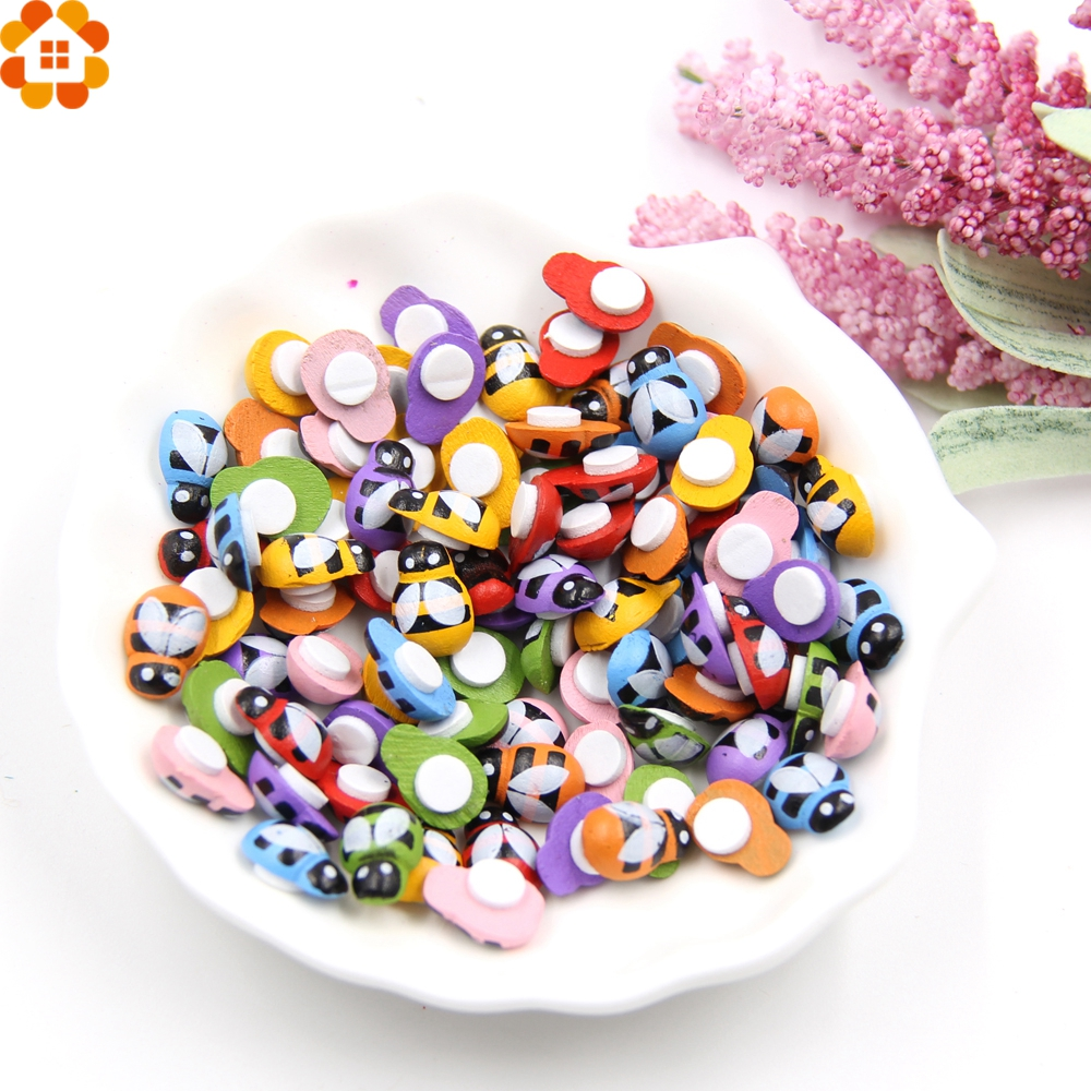 100PCS Colorful Bee Wooden Ladybug Sponge Self-adhesive Stickers Fridge/Wall Sticker Kids Scrapbooking Baby Toys Home Decoration(China)