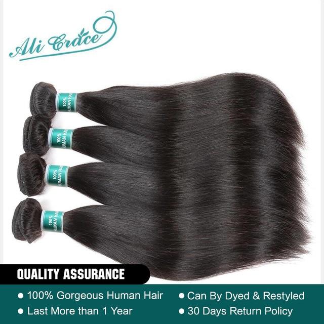 Pelo humano recto brasileño de ALI GRACE 4 paquetes cabello humano 100% Remy tejido de Color Natural 10-28 pulgadas envío Gratis