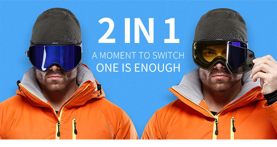 24421cb767b Dropwow COPOZZ 2 in 1 Ski Goggles with Original Case Double Lenses ...