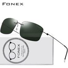 FONEX Titan Legierung Randlose Sonnenbrille Polarisierte Männer Platz Licht Gewicht Sonne Gläser für Frauen Schraubenlose Brillen 8203