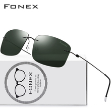 Fonex チタン合金リムレスサングラス偏光男性正方形軽量女性ネジなし眼鏡 8203