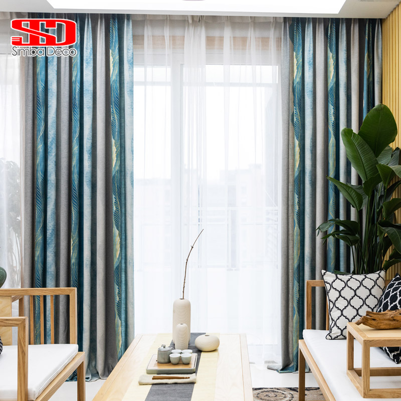 Retro Ink Painting Curtains for Living Room Printed Blue Thick Cotton Drapes for Bedroom Kids Blinds Window Treatments Panel