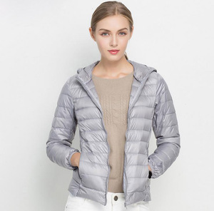 Image 2 - Winter Women Ultra Light Down Jacket 90% White Duck Down Hooded Jackets Warm Coat Parka Female Portable Outwear Windbreaker
