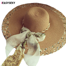 iEASYSEXY Brand 2016 Korean Style Summer Sunscreen Sunshade Leopard Straw Cap Fashion Women Adult Casual Beach Hat With Riband
