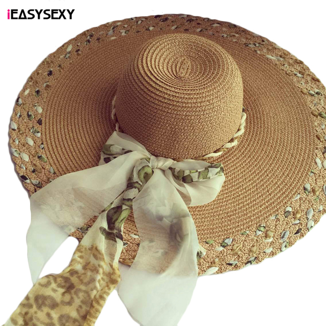 iEASYSEXY Brand 2017 Korean Style Summer Sunscreen Sunshade Leopard Straw Cap Fashion Women Adult Casual Beach Hat With Riband