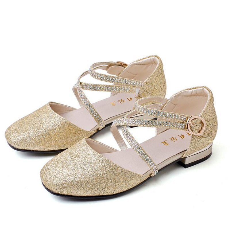 2019 Children Princess Glitter Sandals Kids Girls Soft Shoes Square Low-heeled Dress Party Shoes Pink /Silver/Gold Size 28-372019 Children Princess Glitter Sandals Kids Girls Soft Shoes Square Low-heeled Dress Party Shoes Pink /Silver/Gold Size 28-37
