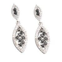 Glamorous Black Stone 2 2mm Semi Precious Silver Cool For Womens Stud Earrings ED0342