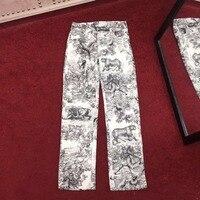 S01622 женские модные брюки для девочек 2019 взлетно посадочной полосы Элитный бренд Европейский дизайн вечерние Стиль Женская одежда
