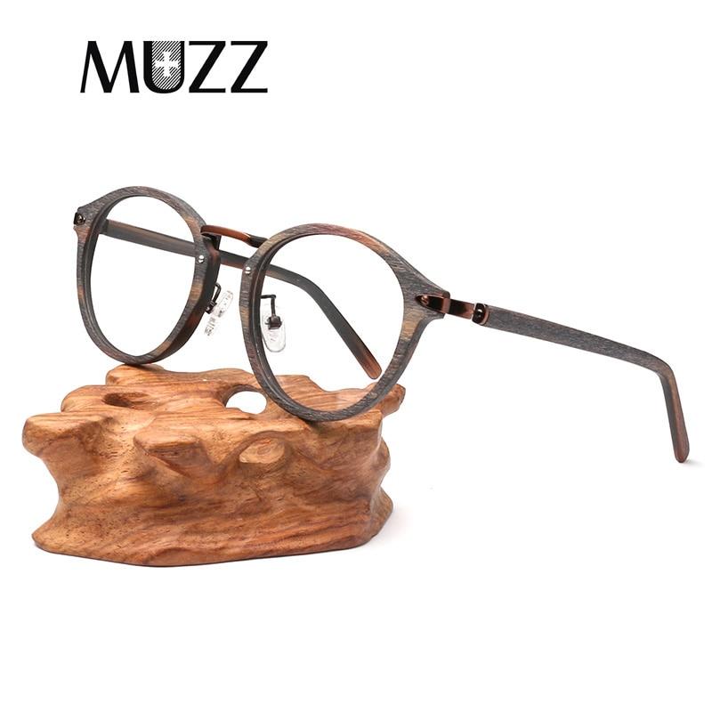 MUZZ 2018 High Quality Men Myopia Wood Eyewear myopia glasses frame retro frame female frame male with glasses metallic art tide