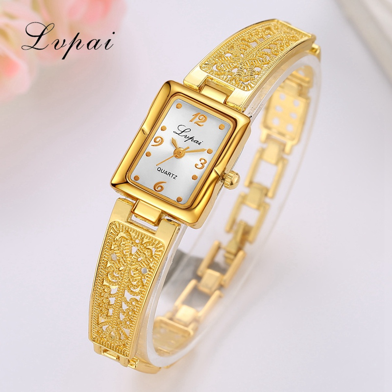 Lvpai Brand Luxury Gold Quartz Watches For Women Rectangle Dial Steel Business Wristwatch Fashion Ladies Female Clock Watches lvpai brand new arrival 2017 women watches luxury fashion quartz wristwatch ladies steel classic crystal gold dress clock lp022