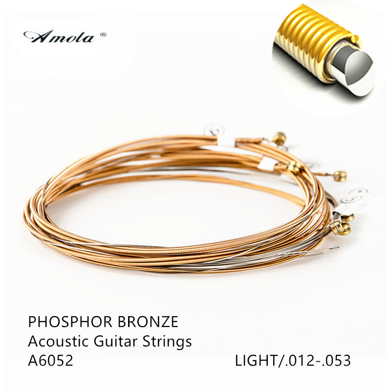 Acoutic Guitar Strings Amola Original Phosphor 80/20 Bronze Light A6052 Custom Light A6027 Extra Light A6002 Wound