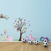 A Colorful Tree and Colorful Animals Wall Stickers Tree with Monkey Giraffe Elephant Zebra Wall Art Animal Wall Stickers 5099