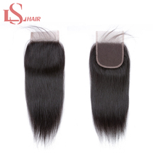 LS Hair 100 Brazilian remy human hair Pre Plucked Straight Hair Closure 4X4 Lace frontal closure