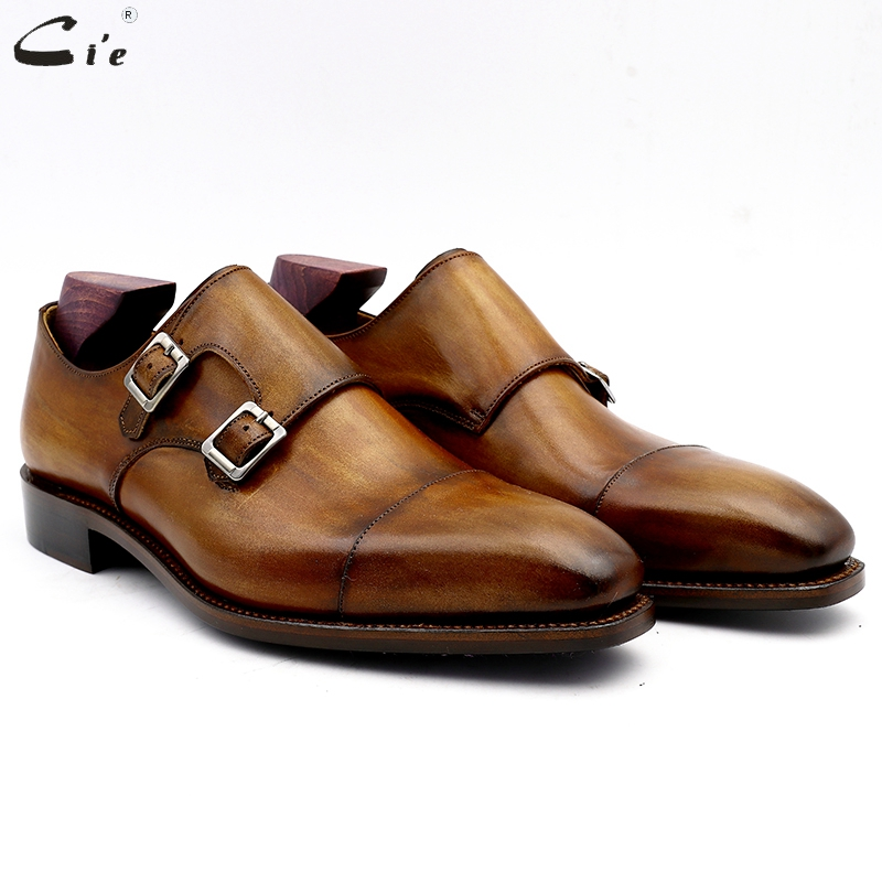 cie monk shoes for man patina brown dress shoe genuine calf leather outsole men suits formal
