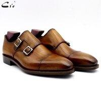 Cie монах обувь для мужчин патина коричневое платье обуви из натуральной телячьей кожи мужские костюмы Формальные кожаные туфли для работы р