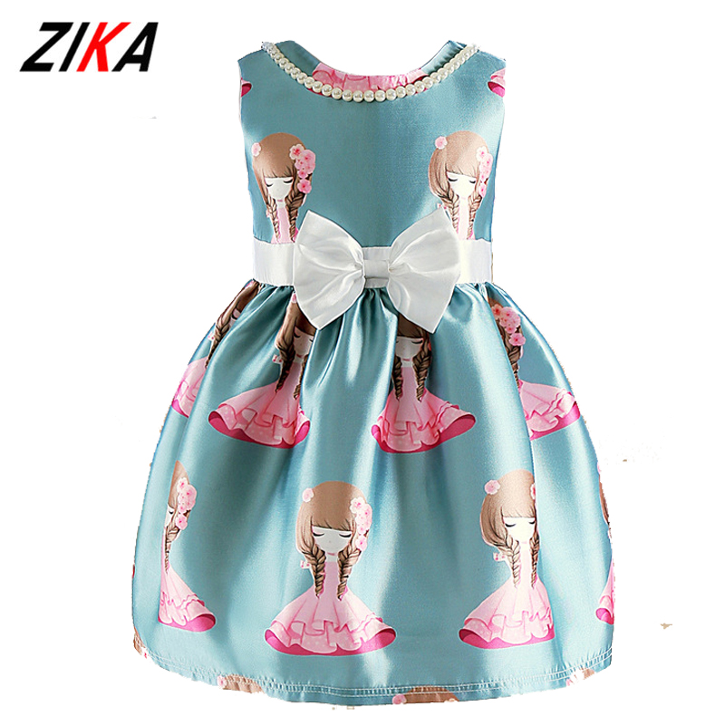 ZiKa New Toddler Girls Dresses 2017 Summer Baby Girl Costume Lovely Printed Princess Dress Children Bowknot Clothes 2-8Years new baby girls clothes fashion style dress for girl polka dot dresses white bowknot shirts children clothing set girls costume