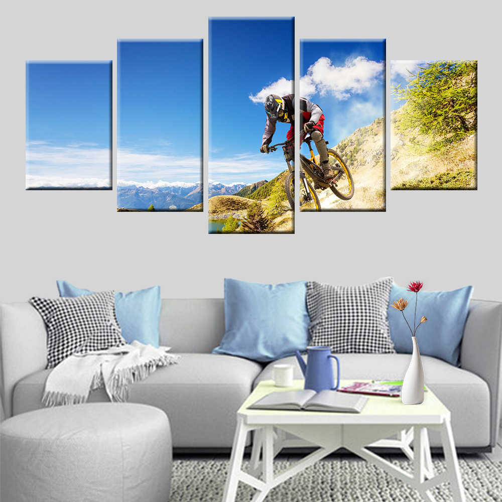 HD print 5 pieces canvas painting handsome bike rider poster painting home decoration