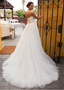 Image 2 - Fascinating Sweetheart Neckline 2 In 1 Beading Sash Wedding Dress With Lace Appliques Mermaid Bridal Dress Detachable Skirt