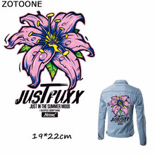 ZOTOONE European Style Pretty Pink Flower Patch Iron on Transfer Letter Patches for Clothes T-shirt Dresses Applique Heat Press sew pretty t shirt dresses