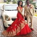 Mel Qiao Vestido De Noite Ouro Apliques Sereia Árabe Africano Prom Dresses 2017 Tulle Tribunal Trem Longo Vermelho Formais Vestidos de Festa