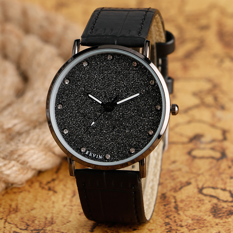 High Quality Bling Crystal Dial Black leather Band Strap Wrist Watch Quartz Movement Casual Elegant Rhinestones Women Watches fashion dress watch elegant crystal dial red faux leather band strap blink quartz analog casual lady women wrist watch stylish
