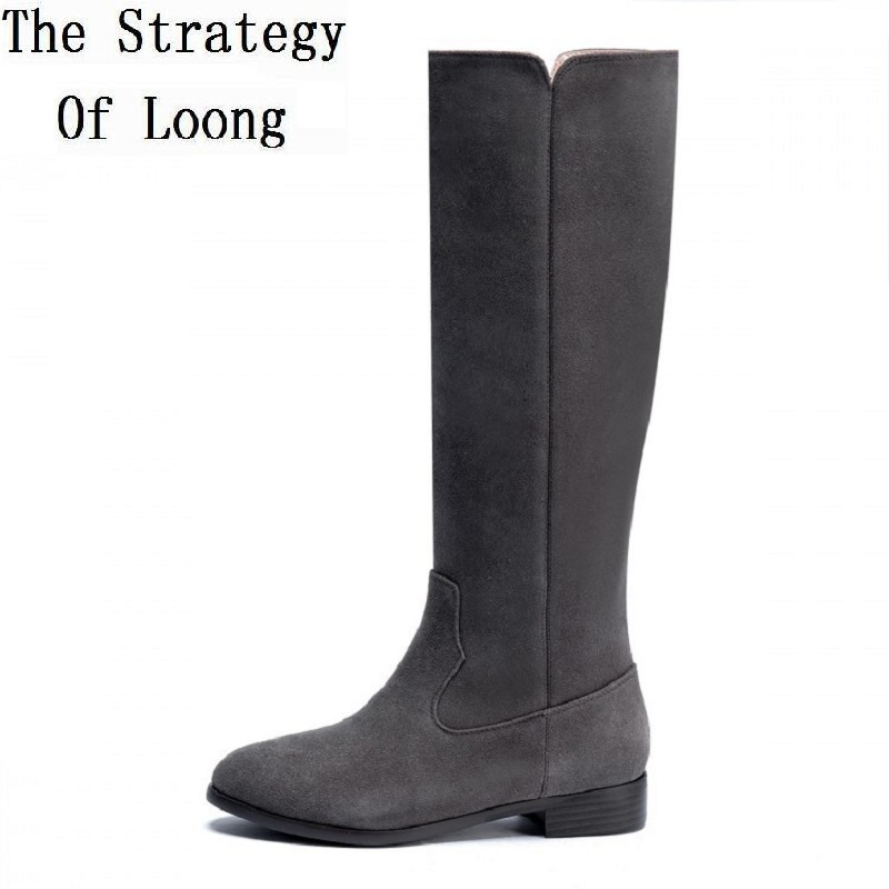 2017 European American Fashion Genuine Leather Low Knee High Women Autumn Winter Boots Casual Flat Heel Boots Size 33-40 SXQ0907