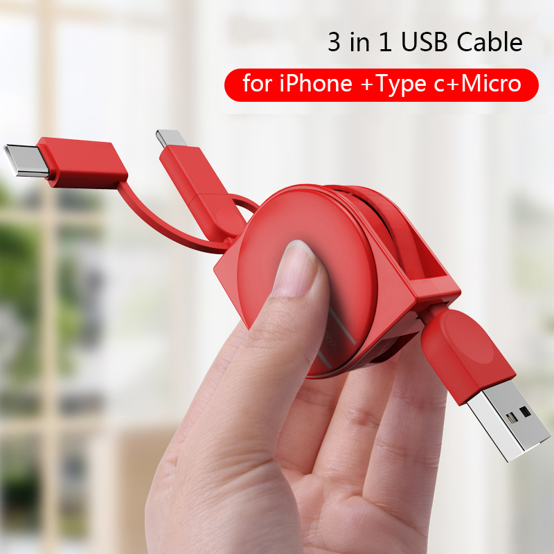 OATSBASF Micro USB Type C Charging Cable For iPhone X 8 7 6 Samsung Huawei Xiaomi Universal Retractable 3 in 1 USB Data Cable