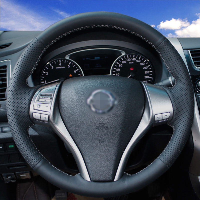 Hand Stitched Black Leather Steering Wheel Cover For