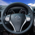 Hand-stitched Black Leather Steering Wheel Cover for Nissan 2013 Teana 2014 X-Trail QASHQAI Sentra