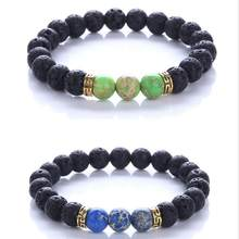 Hot Sell Black Lava Volcanic Stone Beads Natural Imperial Stone Charm Bracelet for Men Women Jewelry Stretch Yoga Bracelet Z232(China)