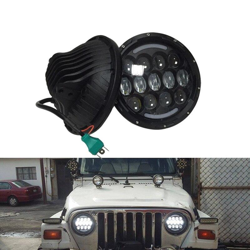 2pcs 105W 7 inch round LED fog Headllamp  White/Yellow DRL Turn Signal for Jeep Wrangler JK CJ TJ Harley driving light lightstar 804040 c0290 09l люстра lobo 9х40w g9 стекло матовое шт