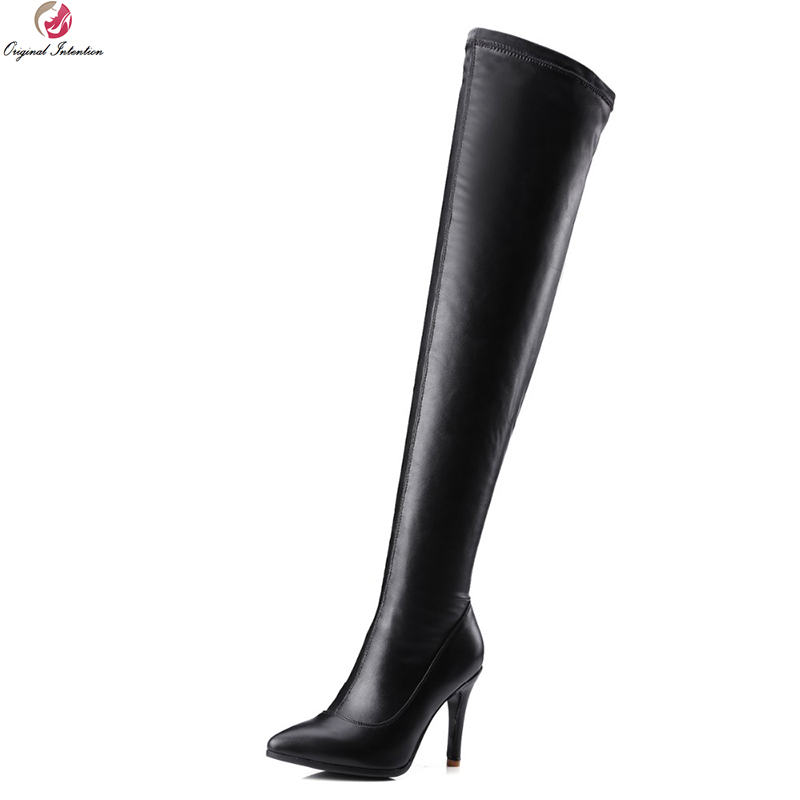 Original Intention Sexy Women Over-the-Knee Boots Nice Pointed Toe Thin Heels Boots Fashion Black Shoes Woman US Size 3.5-10.5 new arrival black red full grain leather fashion women boots pointed toe over the knee thin heels woman shoes ab1011