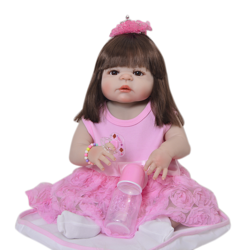 So Real Princess Newborn Dolls 23'' Reborn Baby Full Silicone Vinyl Baby Dolls 57 cm Lifelike Baby Girl Fashion Kids Gifts Toys 23 lifelike reborn baby full silicone body baby born girl vinyl baby toys real newborn dolls hot sale kids playmates gifts