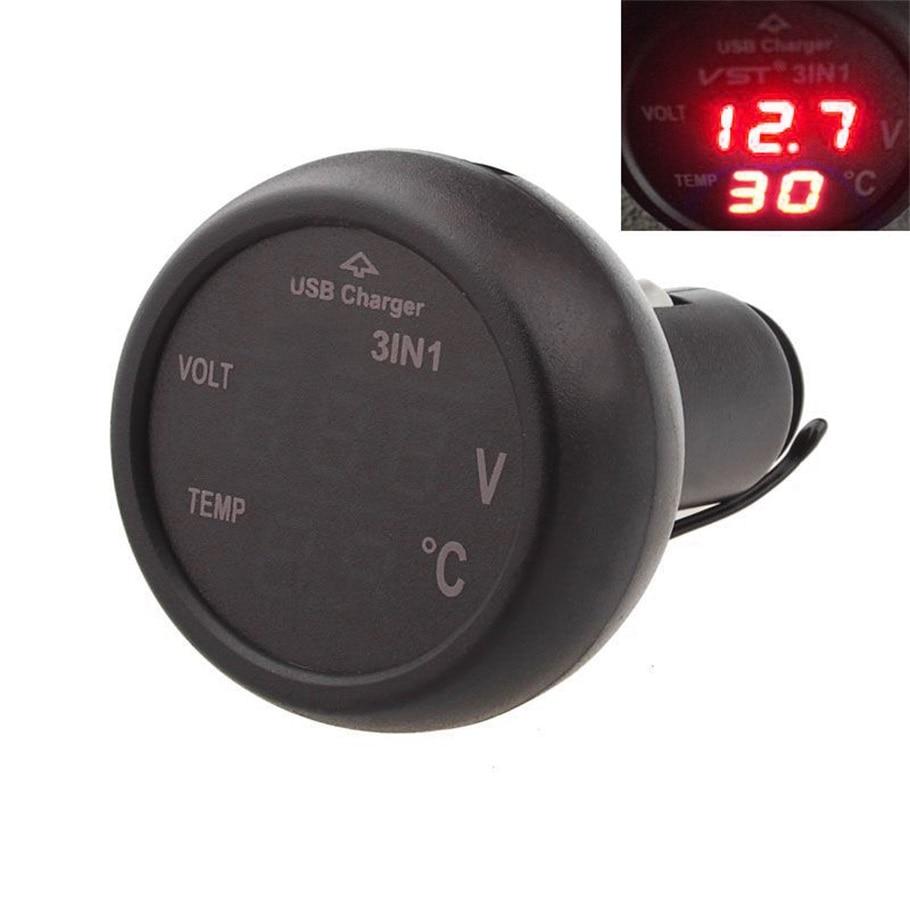 2 color New 3 in 1 Digital LED car Voltmeter Thermometer Auto Car USB Charger 12V/24V Temperature Meter Voltmeter hot selling~