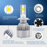 Car Headlight H1/H3/H7/H8/H9/H11/9005/9006 C6 Highpower Headlamp Kit 12V 72W 3800LM IP68 COB Auto LED Lamp Bulb 1