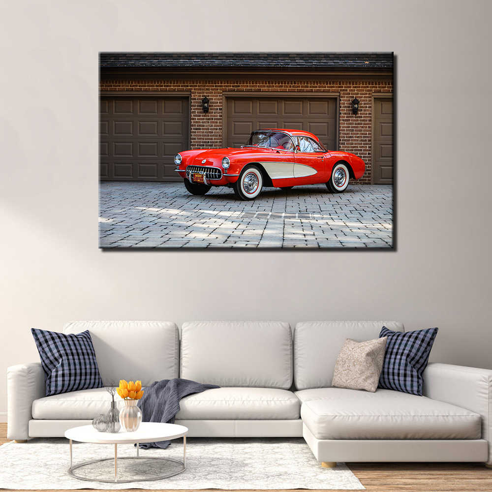 Super Wall Art Decoration 1956 Chevrolet Corvette Poster Canvas Prints Diy Framed Vehicle Painting For Living Room Decor A49 Download Free Architecture Designs Scobabritishbridgeorg