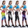 Summer rodilla-longitud del envío knight mujeres harajuku pantalones de combate interés táctico capris punk leggings colorido 3d impreso pantalones