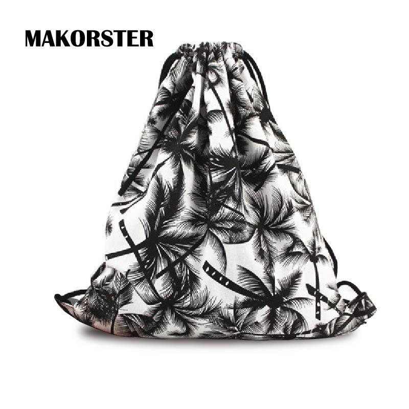 MAKORSTER Fashion Women Backpacks Canvas Drawstring Bag Femme Coconut Tree School Printing Small Backpack sac a dos MK058