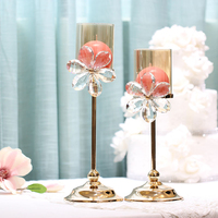 Modern Crystal Candle Holders Metal Gold Lantern Nordic Large Chandelier Romantic Light Mumluk Flower Stand Wedding 50ZT0014