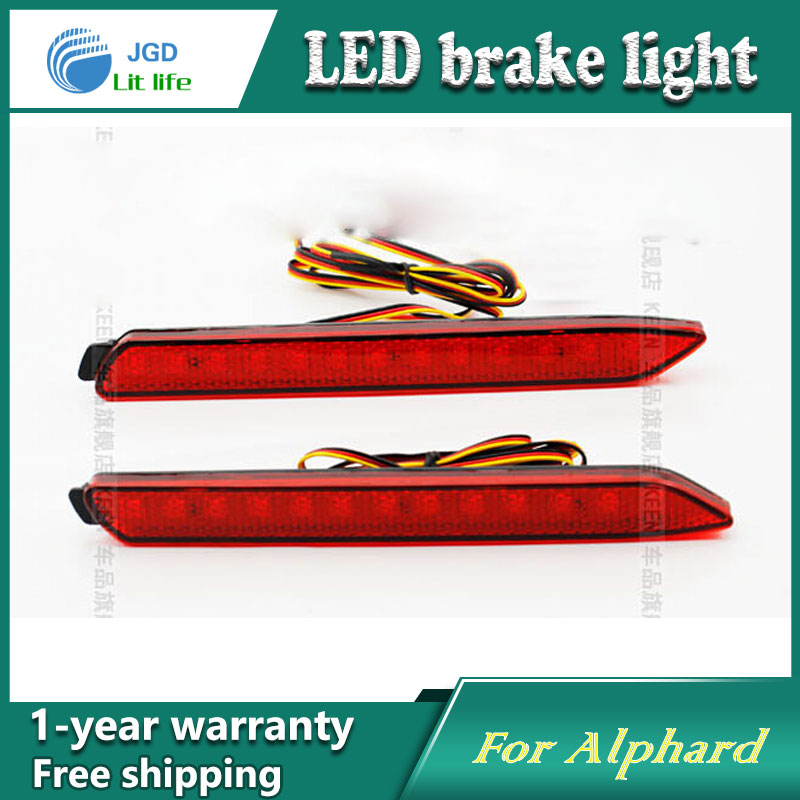 Car Styling Rear Bumper LED Brake Lights Warning Lights case For Toyota Alphard Accessories Good Quality for toyota highlander iii 2014 2016 automobile stainless rear bumper cover decoration car styling stickers accessories