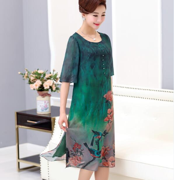 Summer Plus Size Women s Floral Printed Dress Half Sleeve Loose Dress  Double Layers Chiffon Dresses 91d37bb534be