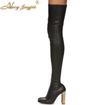 Stretch Fabric Women shoes Adult lady Black Boots Over-the-knee Slip-On Super High heel Winter Solid Zipper Mature Leisure Party
