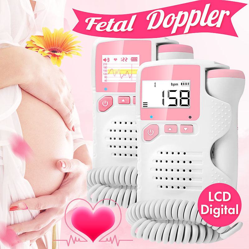 2.0MHz LCD Digital Prenatal Fetal Doppler Heart Sound Monitor Screen Display Tester Detector Pregnant FetalPulse Meter Monitors