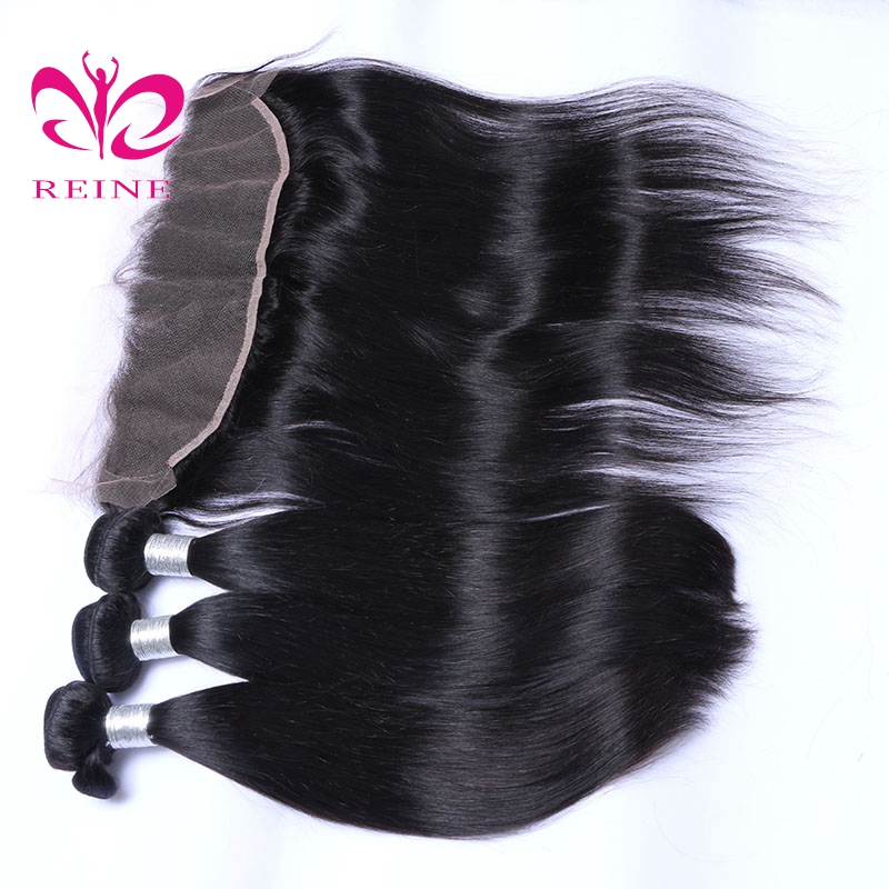 BRAZILIAN Straight Hair Bundles With Lace Frontal 3 pieces with Closure 13*4 Non-Remy Human Hair REINE FREE SHIPPING