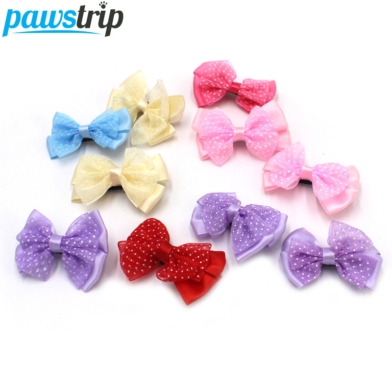 10pcs lot Cute font b Pet b font Bows Lace Small Puppy Dog Hair Bow Grooming